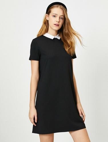Koton Klasik Yaka Elbise Siyah